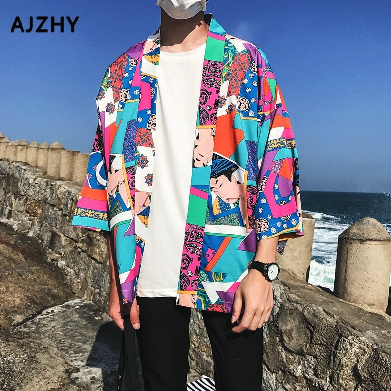 full printed japanese style kimono jacket men 2019 summer