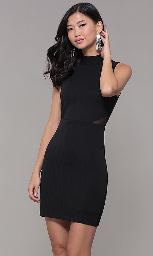 high neck holiday cocktail little black party dress