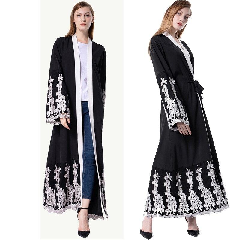 kaftan abaya dubai islam long lace kimono cardigan muslim