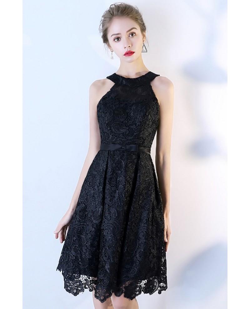little black lace short halter party dress bls86109