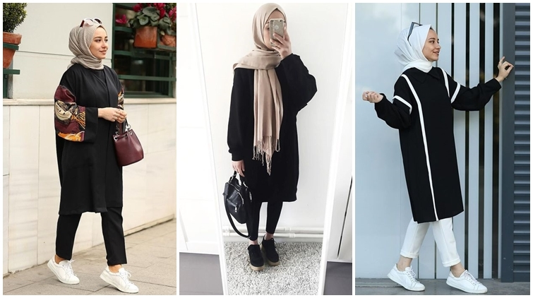 manisnya 9 hijabers dengan tunik warna hitam pas buat