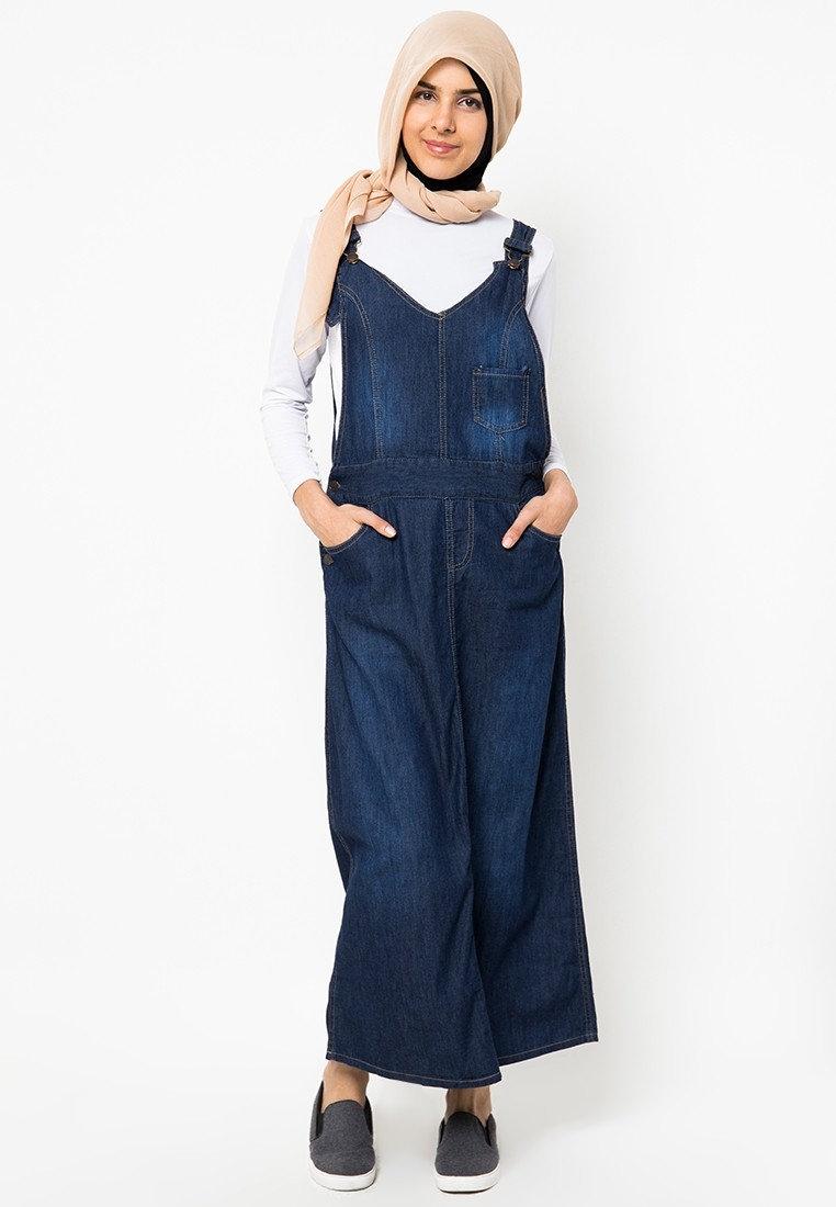 model baju overall kodok muslimah makin populer
