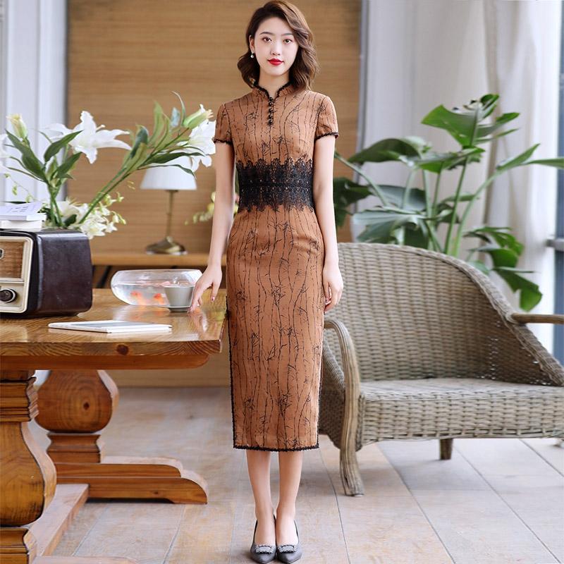modern lace hem chinese dress qipao cheongsam brown