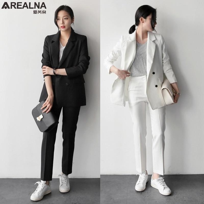musim gugur celana jas wanita kasual stripe kantor setelan
