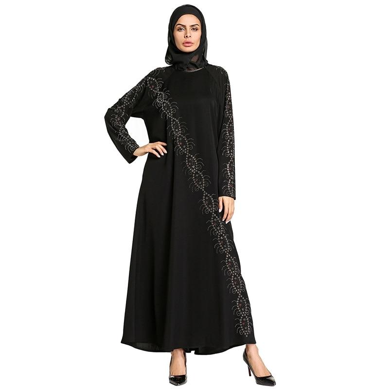 muslim abaya black maxi dress lace kimono diamonds long