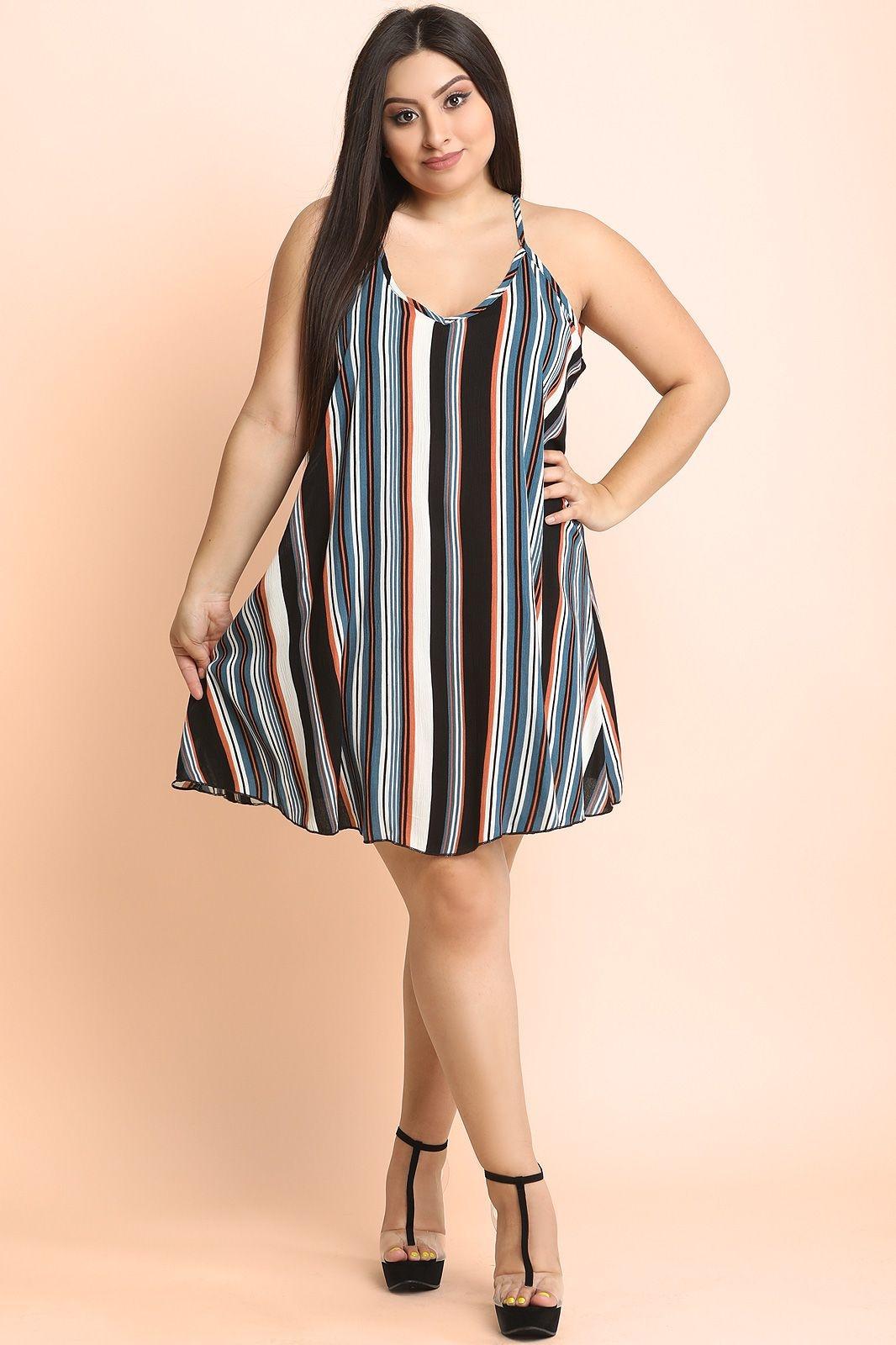 plus size vertical striped v neck shift dress urbanog