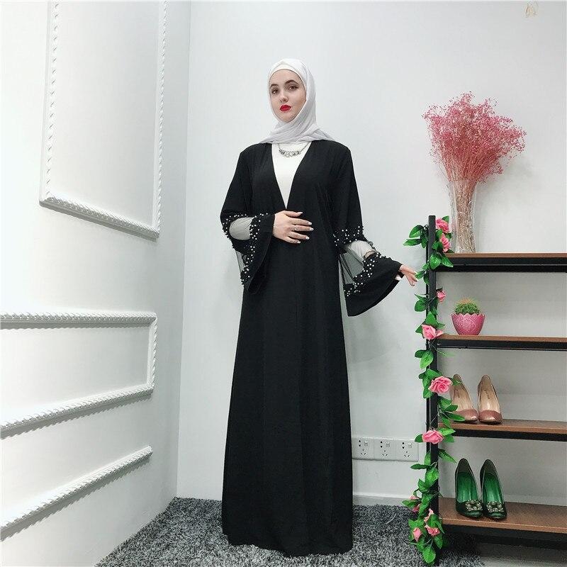 ramadan black abaya robe femme kimono muslim hijab dress