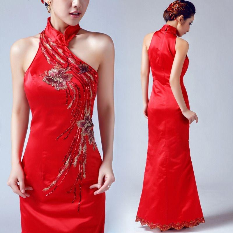 remarkable modern sleeveless red long cheongsam dress