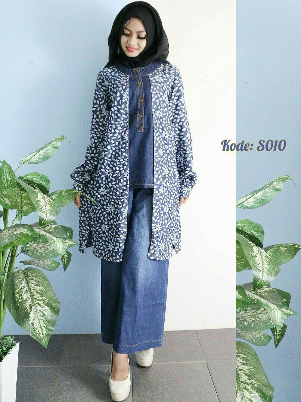 setelan kulot jeans s010 baju hijab style ootd