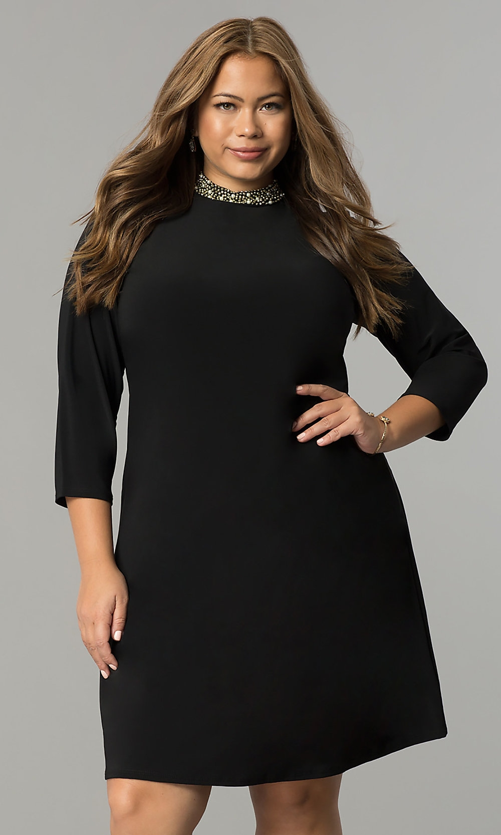 short plus size black holiday party dress promgirl