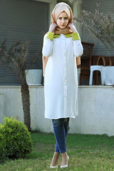 style busana hijab tunik modis terbaru yang ceriakan