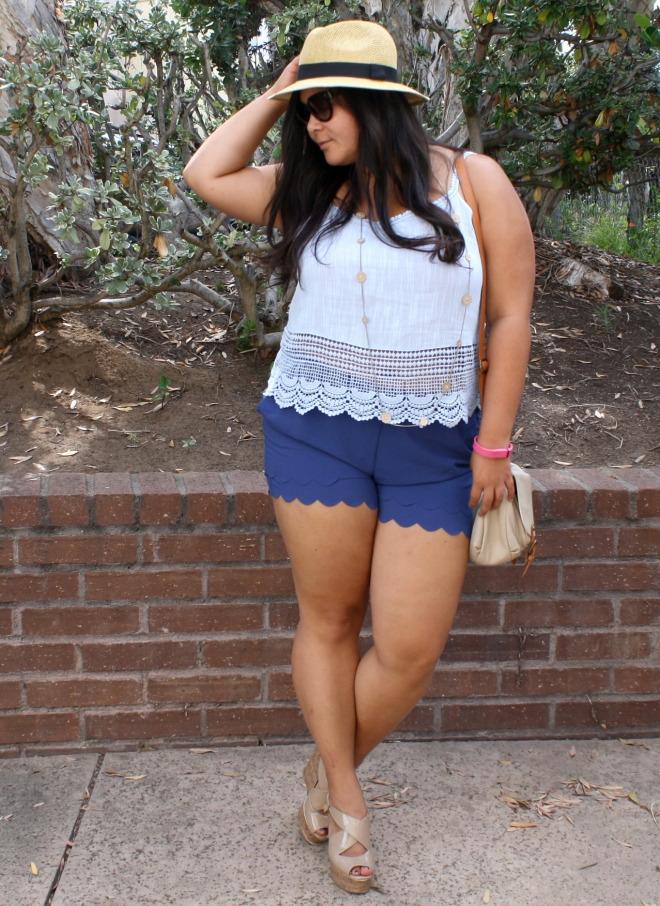 summer blues in crop top scallop shorts ootd biancakarina