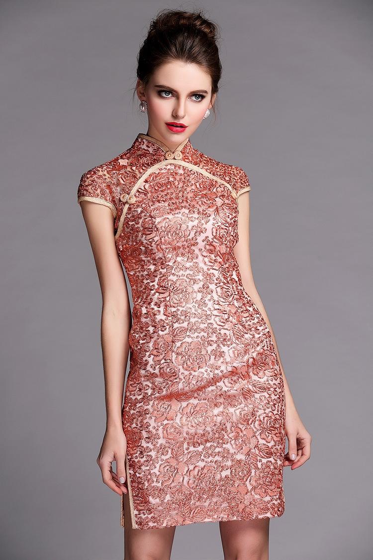 superb flower lace modern cheongsam qipao dress pink