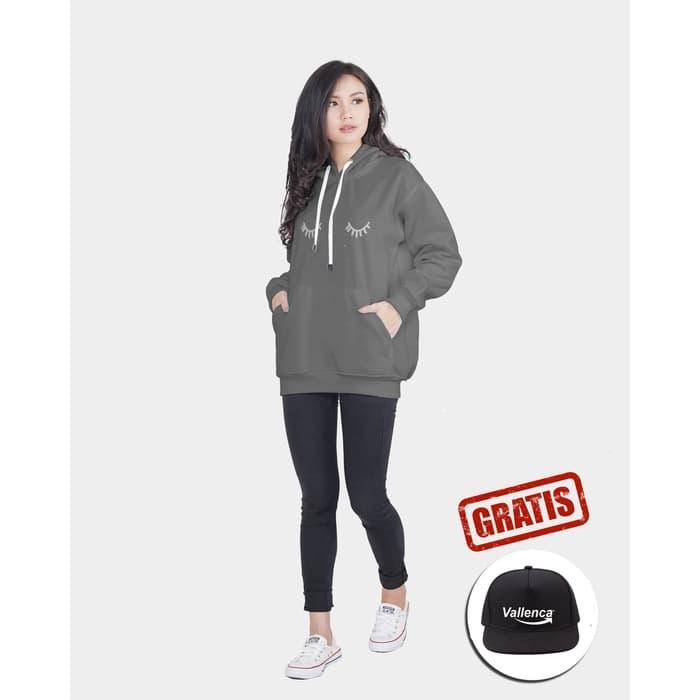 vallenca jaket hoodie wanita poket eyelash abu abu gratis