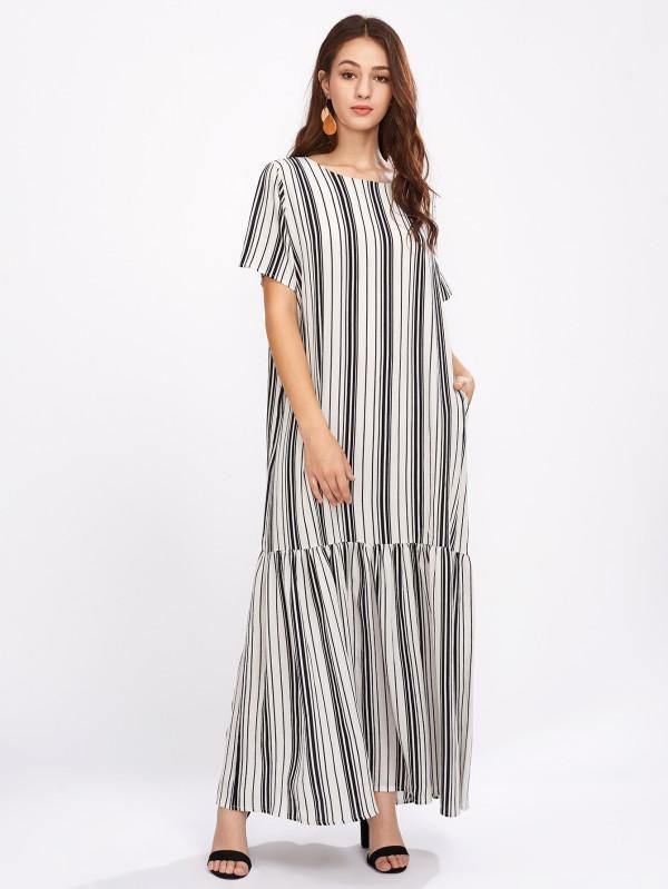 vertical striped drop waist full length dress with images