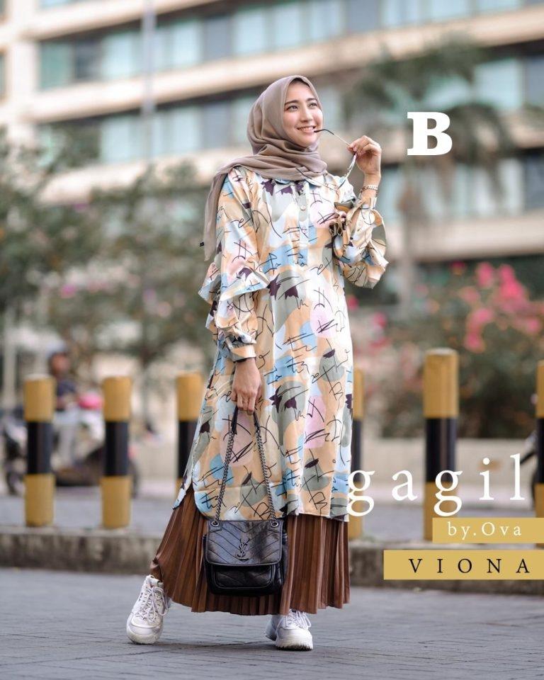 viona tunik set rok kode b baju muslim gamis modern