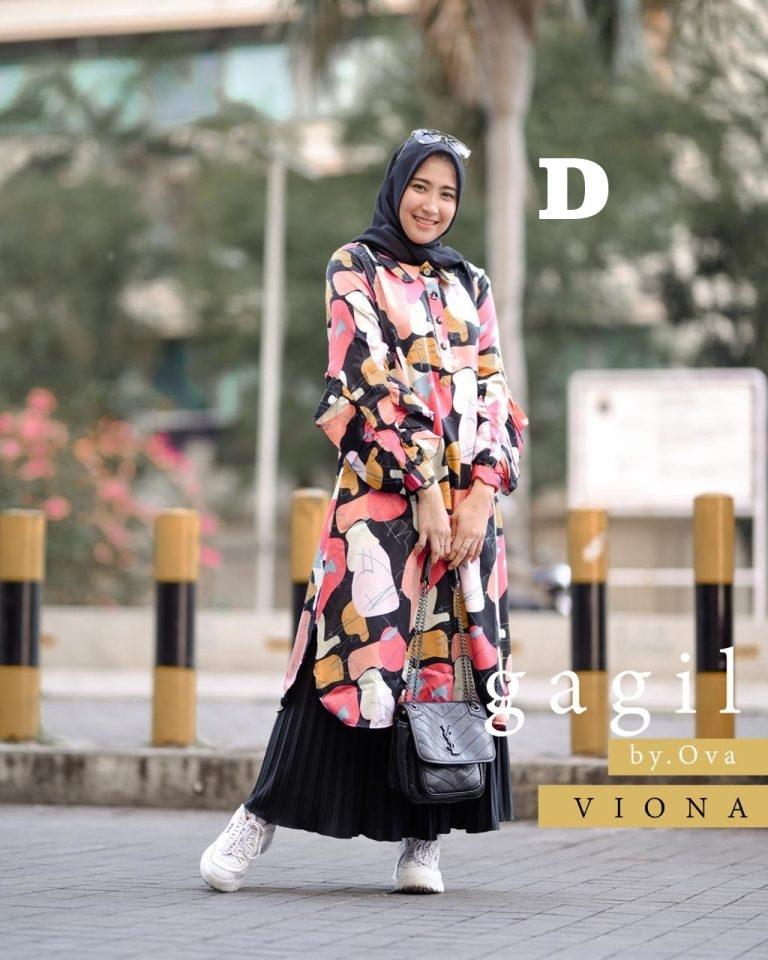 viona tunik set rok kode d baju muslim gamis modern