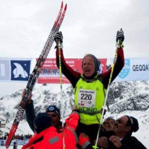 Den blinde danske langrendsløber Arne Christensen var lykkelig i efter langrensløbet Artic Cicle Race
