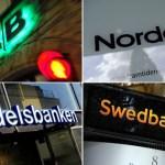 De svenska storbankerna - SEB, Swedbank, Nordea och Handelsbanken