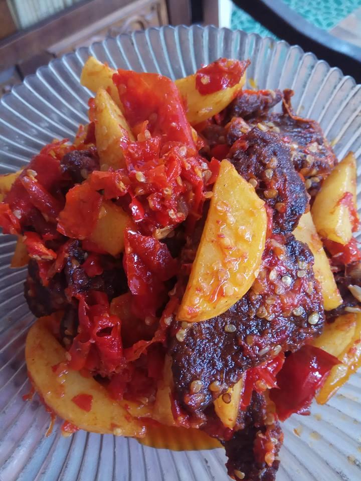 Resep Daging Balado : resep, daging, balado, Dendeng, Daging, Kentang, Balado, Joeli, Langsungenak.com