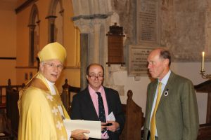 Bishop Colin Fletcher, churchwarden Tim Streatfeild, and the deputy lieutenant of Oxfordshire, Mr Michael MacFadyen