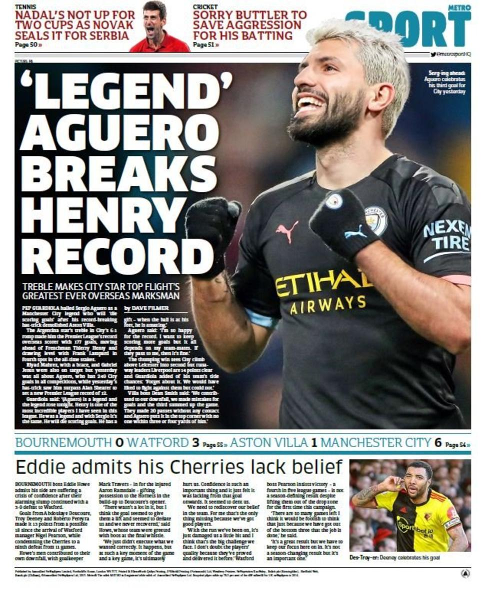Newspaper Headline: 'Legend' Agüero Breaks Henry Record