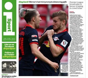 Newspaper Headline: Werner's hat-trick prompts distancing gaffe