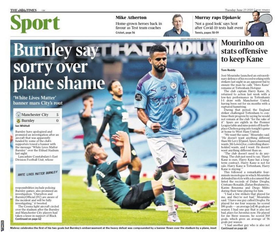 Newspaper Headline Language: Burnley say sorry over plane shame