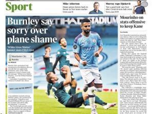 Newspaper Headline Language: Burnley say sorry over plane shame