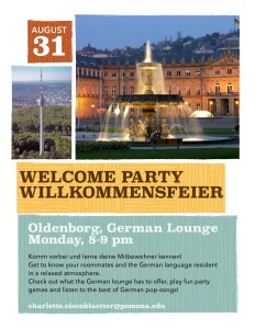 german welcome party flyer
