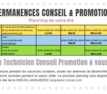 Permanences Conseil et promotion – votre planning de l'été