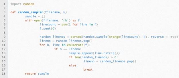 Random sampler (Python, Algorithm 1)