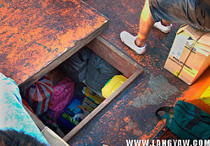 At the forward part of the ship, the cargo hull is where most baggages are put