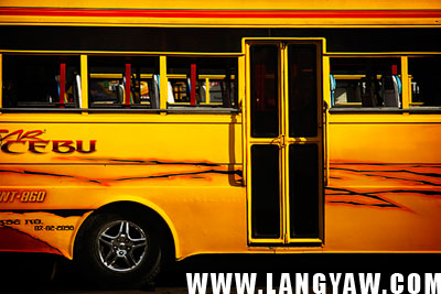 Detail of a minibus that is more like a hybrid between a bus and a colorful jeepney that is found only in Cebu.