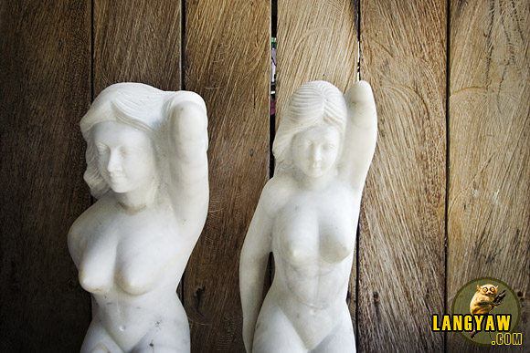 Sexy women figures at a marble ornaments factory in Romblon.