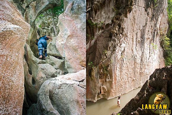 One can also climb the opposite rock face where millenia of river action has carved a smooth path for the river. During dry months, people just pass below. However, during rainy season, the river can rise as much as 20 feet or more and rafts are used.