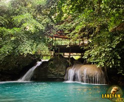 One of the minor cascade of Kawasan Falls with a hut built on top. What the...