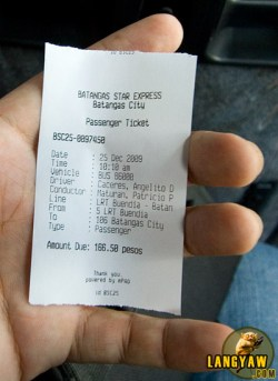 Bus ticket from Makati to Batangas City wharf