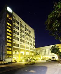 Facade of hotel at night