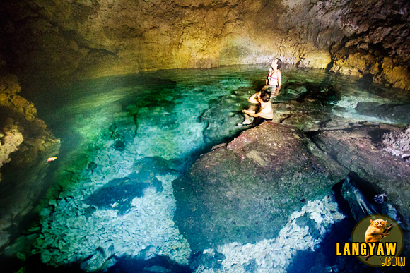 The clear and cool waters inside Combento Cave