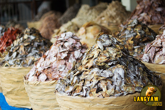 Piles of dried fish at Taboan market