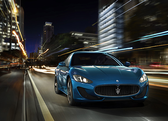 Get the chance to experience the adrenaline rush of driving a  blue Maserati Granturismo equipped  with 460 horsepower, 4.7 liter engine.