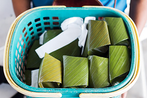 Piles of wrapped bingka dawa