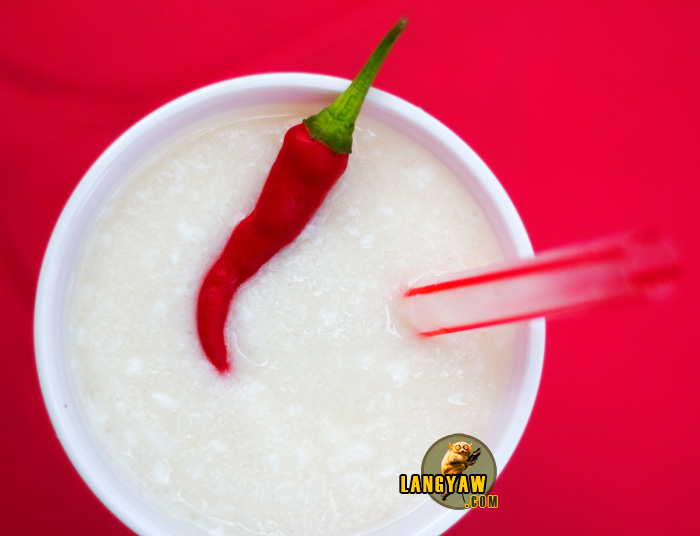 Buko shake infused with chili pepper for that extra kick