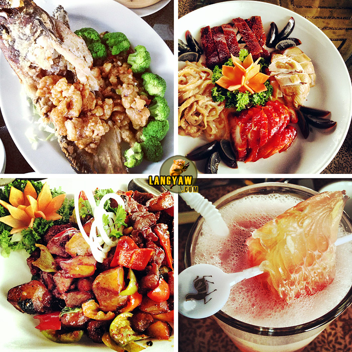 A medley of food, from top right clockwise: suckling pig platter with jellyfish, pork asado,white soy chicken, century egg and roast suckling pig; pomelo juice; sauteed diced beef with basil in soy sauce; yin yang two way style fish