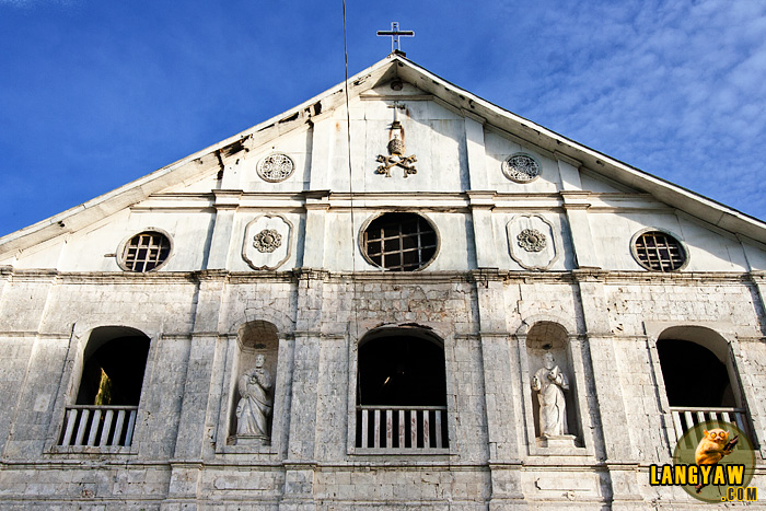 The pediment of the centuries old Loboc Church. The Augustinian Recollects added the portico when they assumed jurisdiction from the Jesuits who were expelled in 1768