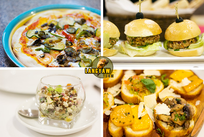 Clockwise from top, right: vegetable burgers with guacamole and salsa, mushroom, tomato basil and roasted pumpkin bruschetta, lentil couscous salad with malagos feta cheese, and pizza with roasted vegetables