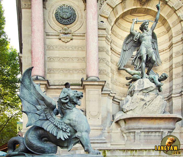 Close up of the sculptures of the Place St. Michel