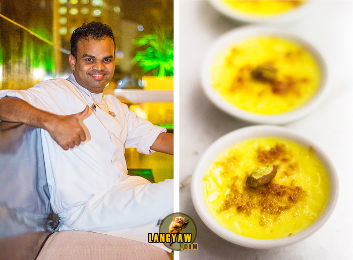 Pastry Chef Schihab Ahmed, left; classic creme brulee, right
