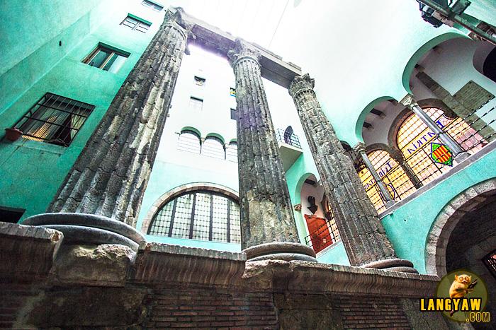 Roman temple ruins in Barcelona